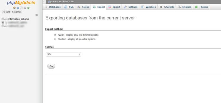 การส่งออกและถ่ายโอนฐานข้อมูลโดยใช้ phpMyAdmin