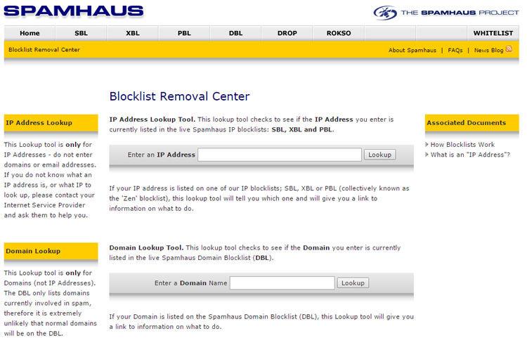 SpamHaus Blocklist kaldırma Merkezi