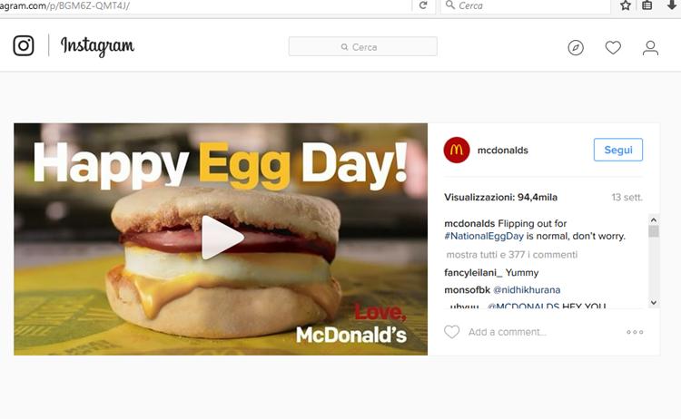โพสต์ Instagram ตรา McDonald's