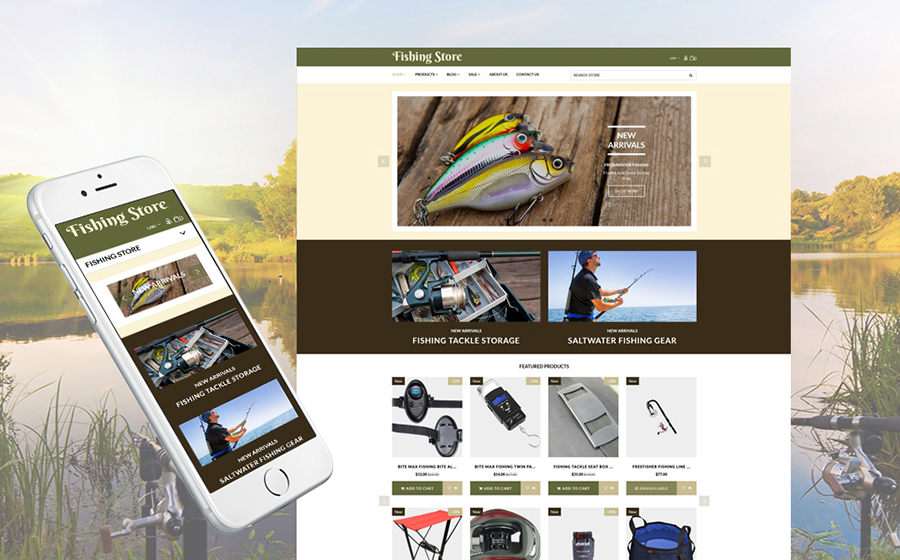 Forniture e attrezzature per la pesca Shopify Template
