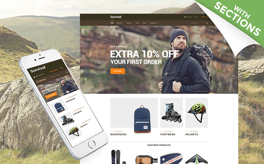 อุปกรณ์การท่องเที่ยว Shopify Theme
