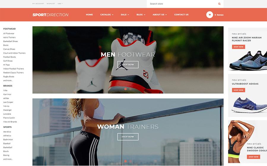 運動方向 - 體育商店Shopify主題