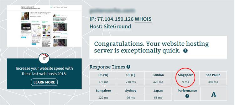 قارن سرعة Siteground مع A2 Hosting
