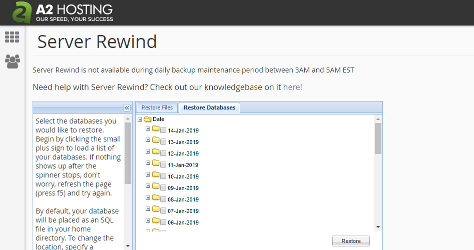 To access A2 Hosting Server Rewind, login to cPanel > Files > Server Rewind.