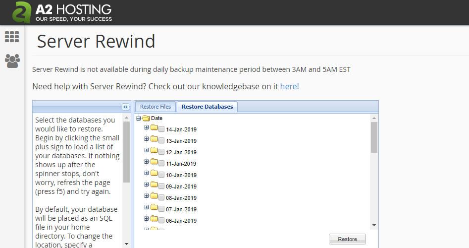 要訪問A2 Hosting Server Rewind,請登錄cPanel> Files> Server Rewind。
